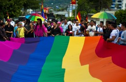 Gay rights activists participate in a demonstration marking the International Day Against Homophobia and Transphobia (IDAHOT) in San Salvador, on May 17, 2014. The 9th annual event, billed by organisers as the biggest LGBT solidarity event in the world, is aimed at raising awareness about discrimation and calling for equal rights. AFP PHOTO / Jose CABEZAS        (Photo credit should read JOSE CABEZAS/AFP/Getty Images)