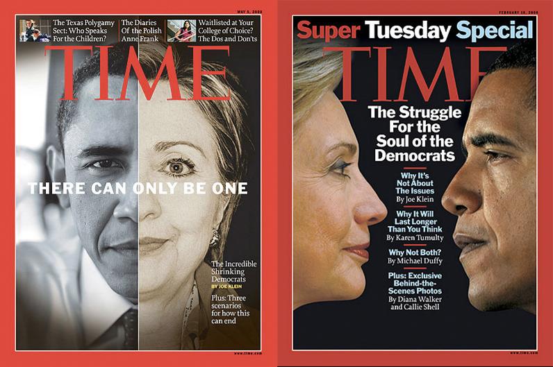 Hillary Clinton Barack ObamaTime Magazine cover